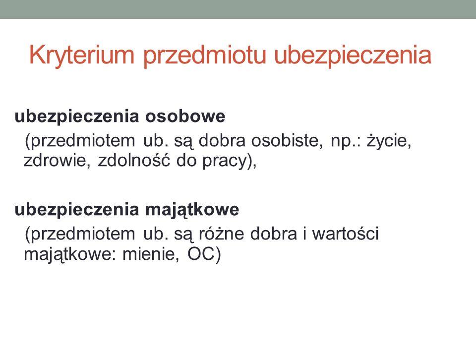Kryterium przedmiotu ubezpieczenia ubezpieczenia osobowe (przedmiotem ub.
