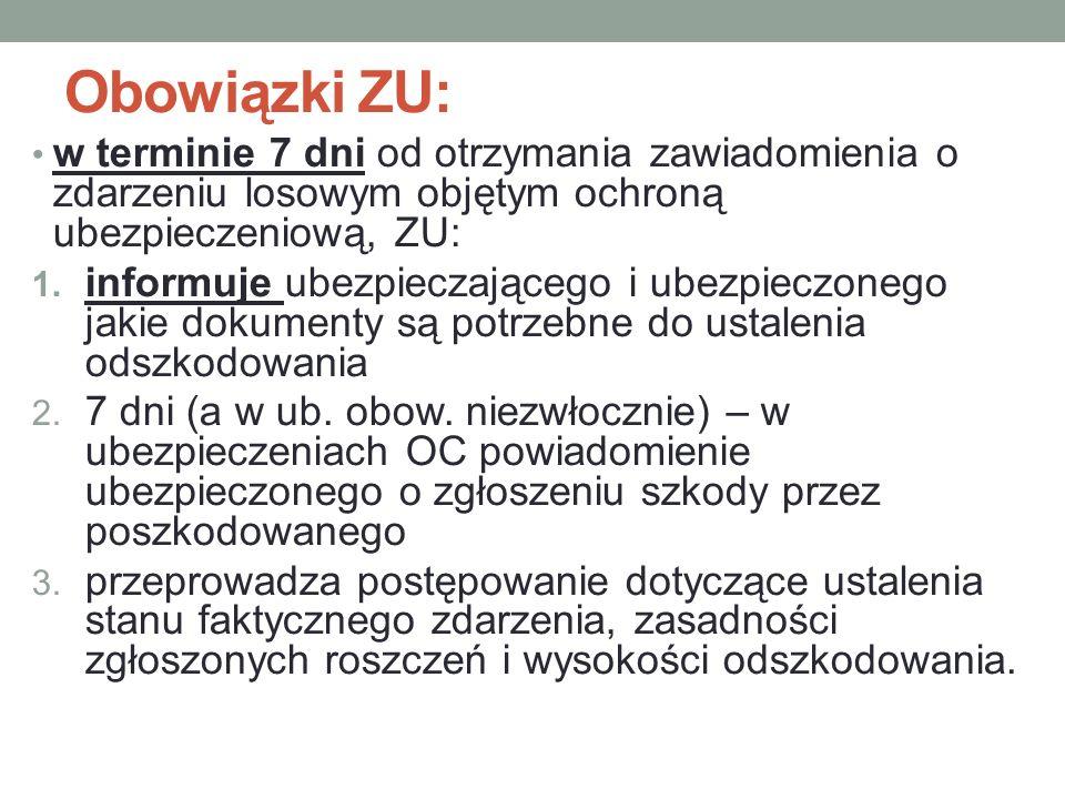 Obowiązki ZU: w terminie 7 dni od otrzymania zawiadomienia o zdarzeniu losowym objętym ochroną ubezpieczeniową, ZU: 1.