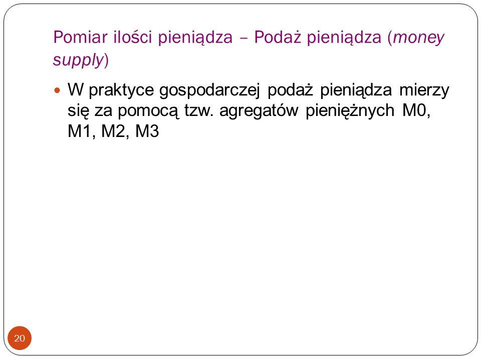 Pomiar ilości pieniądza – Podaż pieniądza (money supply) 20 W praktyce gospodarczej podaż pieniądza mierzy się za pomocą tzw. agregatów pieniężnych M0