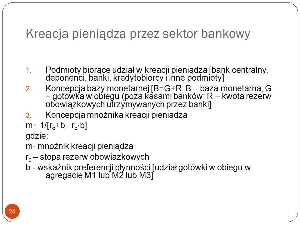 Kreacja pieniądza przez sektor bankowy 24 1. Podmioty biorące udział w kreacji pieniądza [bank centralny, deponenci, banki, kredytobiorcy i inne podmi