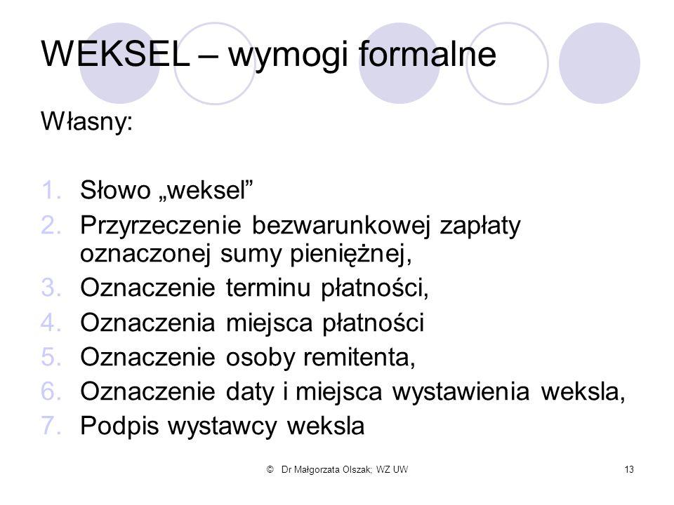 """© Dr Małgorzata Olszak; WZ UW13 WEKSEL – wymogi formalne Własny: 1.Słowo """"weksel"""" 2.Przyrzeczenie bezwarunkowej zapłaty oznaczonej sumy pieniężnej, 3."""