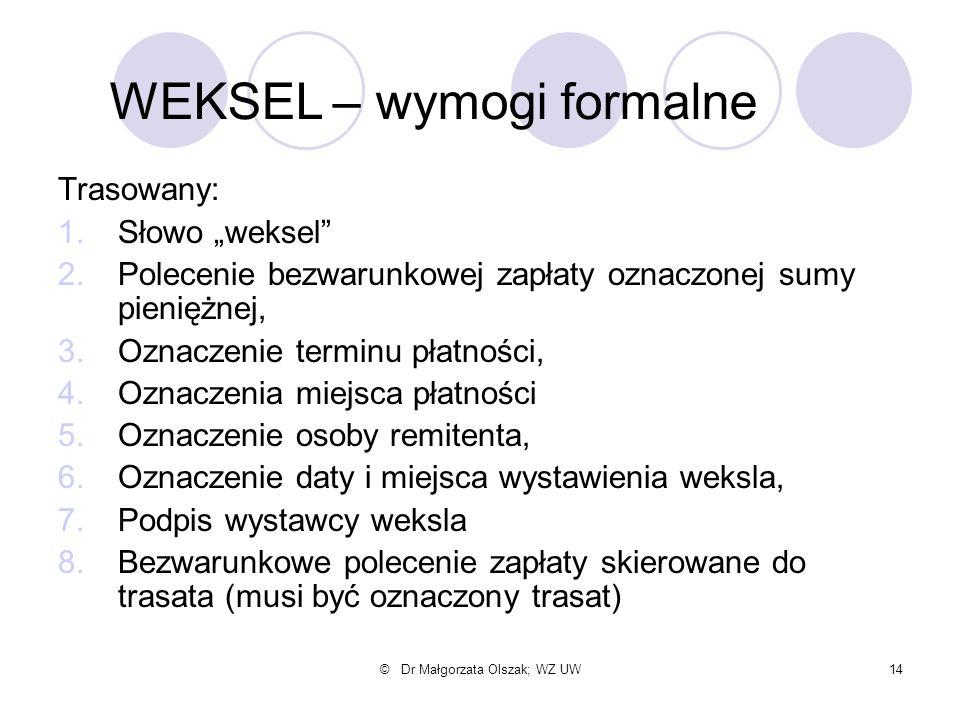 """© Dr Małgorzata Olszak; WZ UW14 Trasowany: 1.Słowo """"weksel"""" 2.Polecenie bezwarunkowej zapłaty oznaczonej sumy pieniężnej, 3.Oznaczenie terminu płatnoś"""