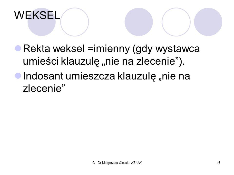 """© Dr Małgorzata Olszak; WZ UW16 WEKSEL Rekta weksel =imienny (gdy wystawca umieści klauzulę """"nie na zlecenie""""). Indosant umieszcza klauzulę """"nie na zl"""