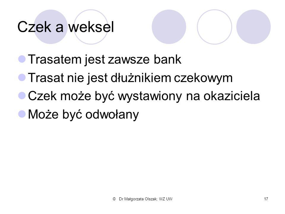 © Dr Małgorzata Olszak; WZ UW17 Czek a weksel Trasatem jest zawsze bank Trasat nie jest dłużnikiem czekowym Czek może być wystawiony na okaziciela Moż