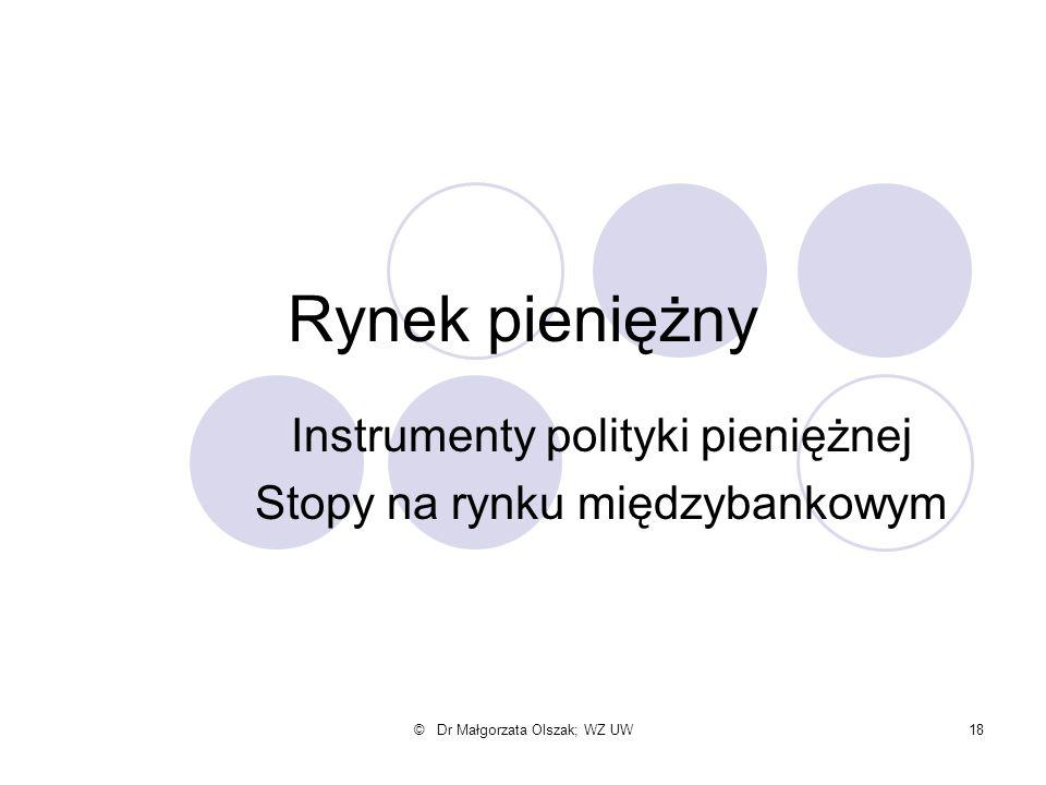 © Dr Małgorzata Olszak; WZ UW18 Rynek pieniężny Instrumenty polityki pieniężnej Stopy na rynku międzybankowym