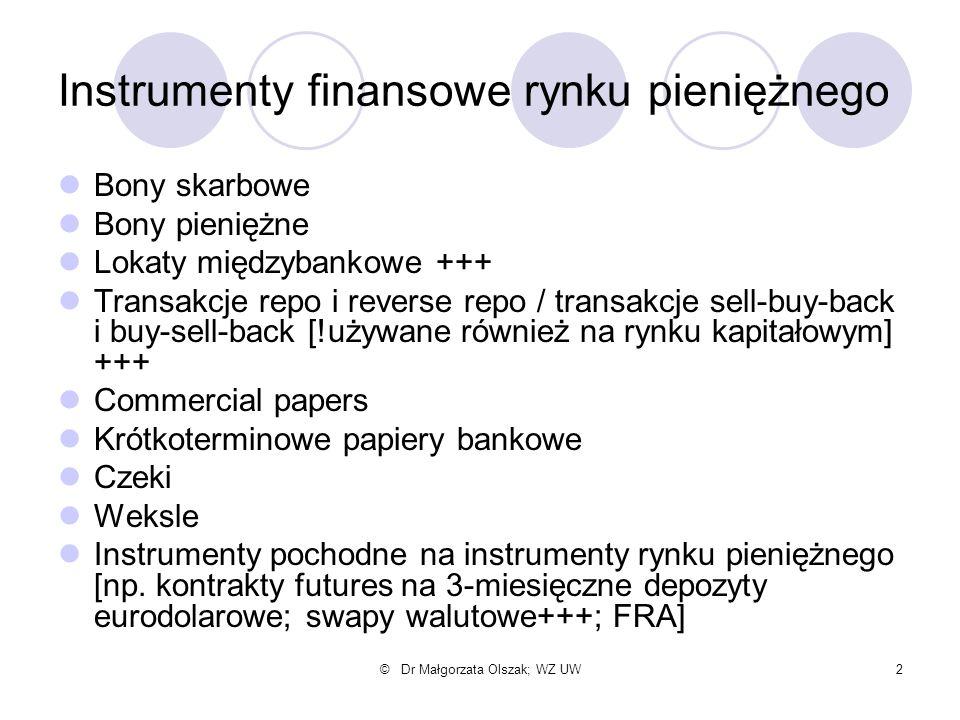 © Dr Małgorzata Olszak; WZ UW2 Instrumenty finansowe rynku pieniężnego Bony skarbowe Bony pieniężne Lokaty międzybankowe +++ Transakcje repo i reverse