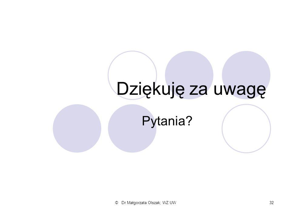 © Dr Małgorzata Olszak; WZ UW32 Dziękuję za uwagę Pytania?