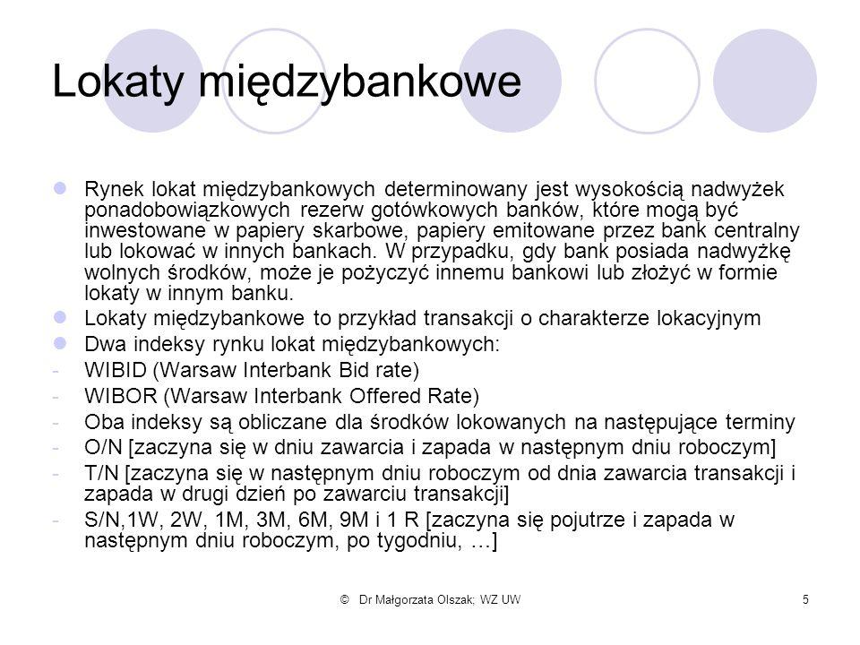 © Dr Małgorzata Olszak; WZ UW5 Lokaty międzybankowe Rynek lokat międzybankowych determinowany jest wysokością nadwyżek ponadobowiązkowych rezerw gotów