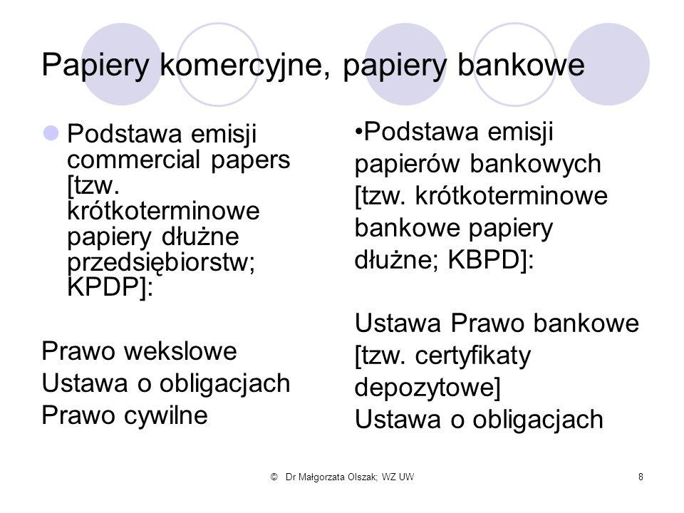 © Dr Małgorzata Olszak; WZ UW8 Papiery komercyjne, papiery bankowe Podstawa emisji commercial papers [tzw. krótkoterminowe papiery dłużne przedsiębior