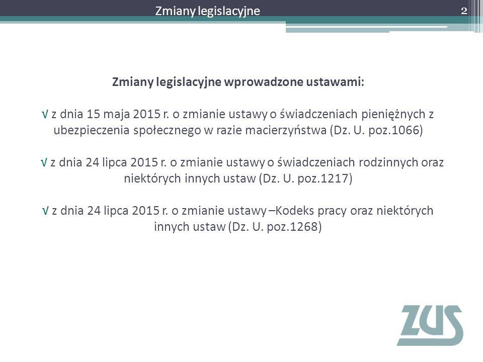 Zmiany legislacyjne wprowadzone ustawami: √ z dnia 15 maja 2015 r. o zmianie ustawy o świadczeniach pieniężnych z ubezpieczenia społecznego w razie ma