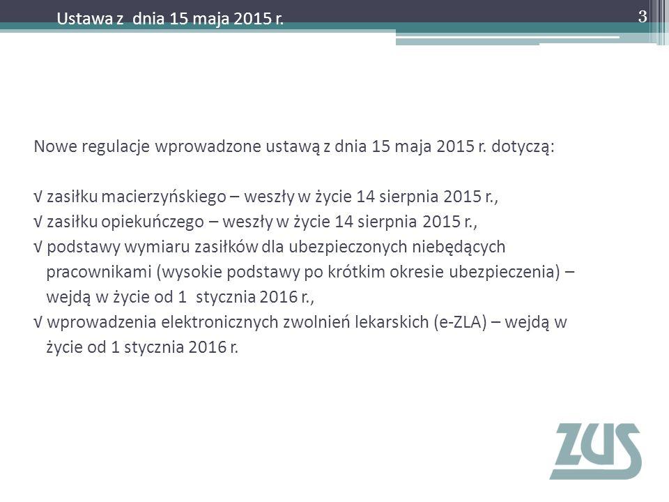 Nowe regulacje wprowadzone ustawą z dnia 15 maja 2015 r. dotyczą: √ zasiłku macierzyńskiego – weszły w życie 14 sierpnia 2015 r., √ zasiłku opiekuńcze