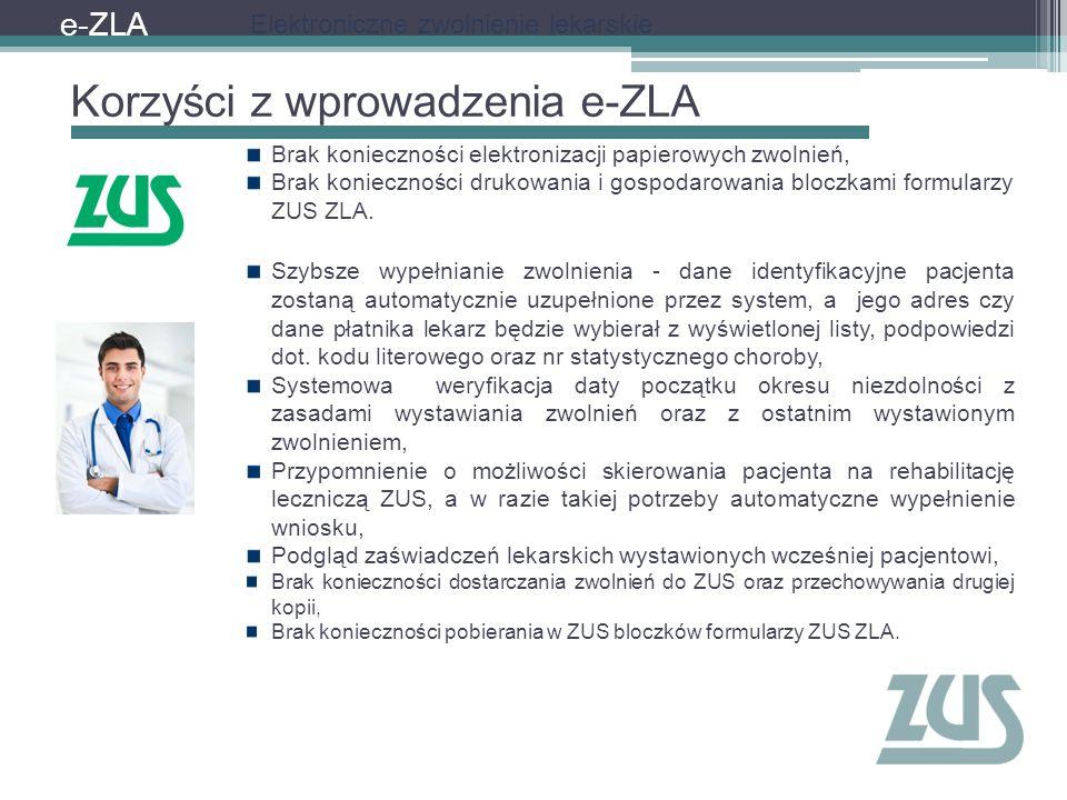 Korzyści z wprowadzenia e-ZLA e-ZLA Brak konieczności elektronizacji papierowych zwolnień, Brak konieczności drukowania i gospodarowania bloczkami for
