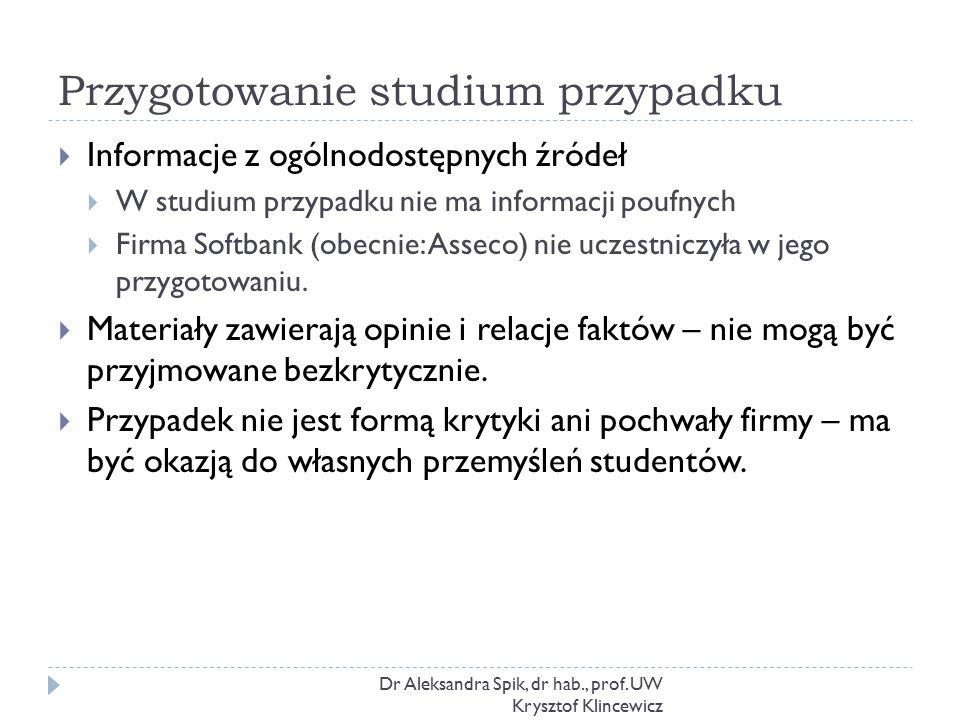 Przygotowanie studium przypadku Dr Aleksandra Spik, dr hab., prof. UW Krysztof Klincewicz  Informacje z ogólnodostępnych źródeł  W studium przypadku