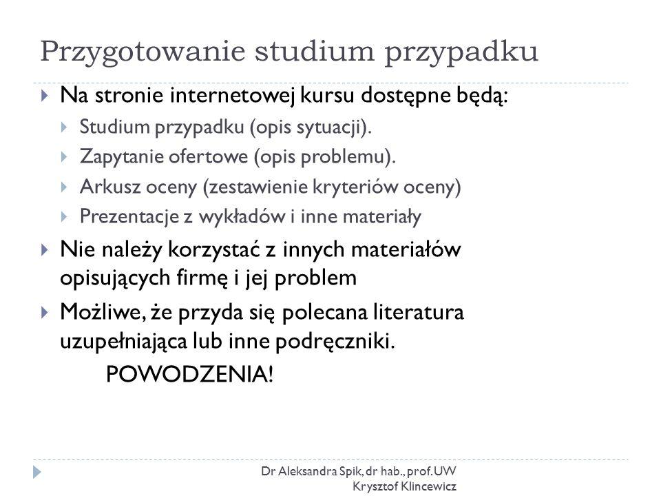 Przygotowanie studium przypadku Dr Aleksandra Spik, dr hab., prof. UW Krysztof Klincewicz  Na stronie internetowej kursu dostępne będą:  Studium prz