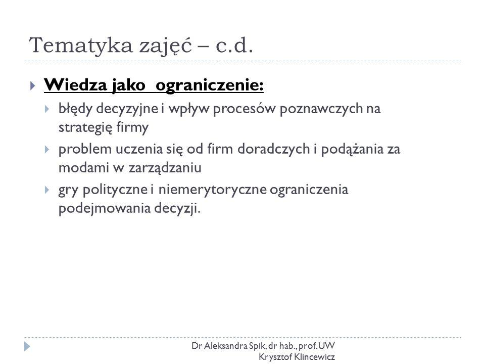 Tematyka zajęć – c.d. Dr Aleksandra Spik, dr hab., prof. UW Krysztof Klincewicz  Wiedza jako ograniczenie:  błędy decyzyjne i wpływ procesów poznawc