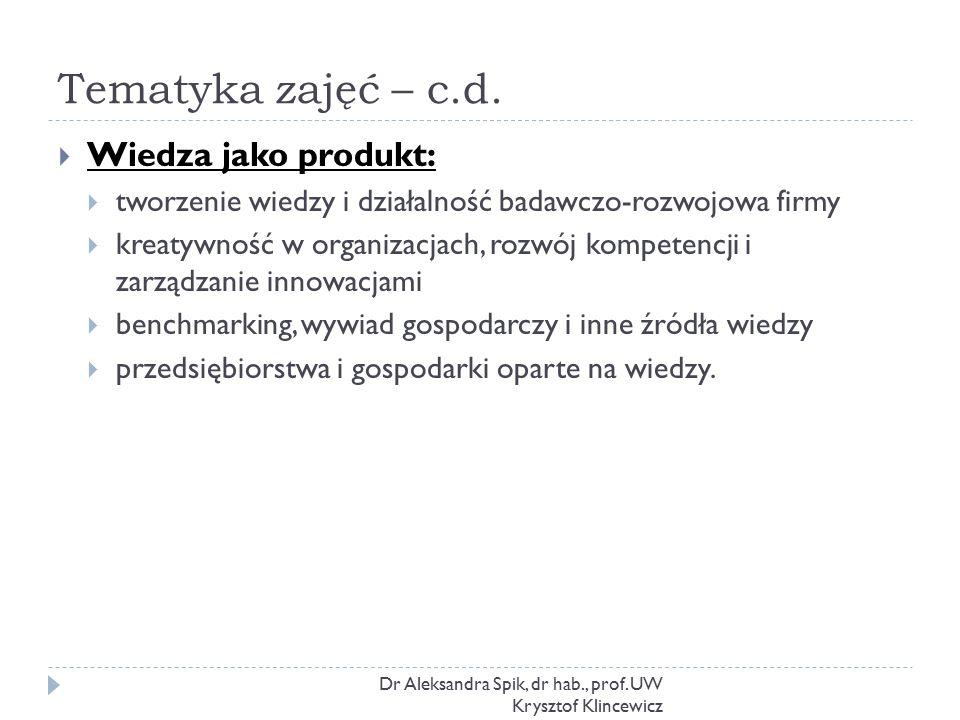 Tematyka zajęć – c.d. Dr Aleksandra Spik, dr hab., prof. UW Krysztof Klincewicz  Wiedza jako produkt:  tworzenie wiedzy i działalność badawczo-rozwo