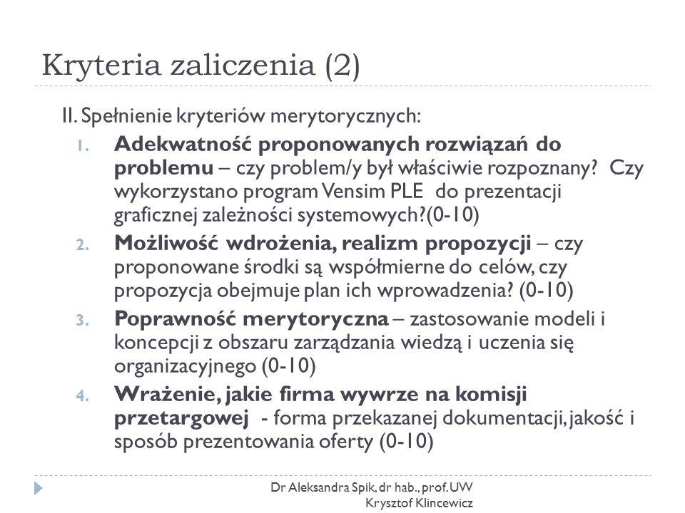 Kryteria zaliczenia (2) Dr Aleksandra Spik, dr hab., prof. UW Krysztof Klincewicz II. Spełnienie kryteriów merytorycznych: 1. Adekwatność proponowanyc