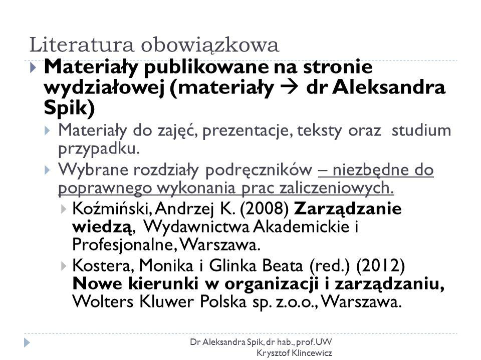 Literatura obowiązkowa Dr Aleksandra Spik, dr hab., prof. UW Krysztof Klincewicz  Materiały publikowane na stronie wydziałowej (materiały  dr Aleksa