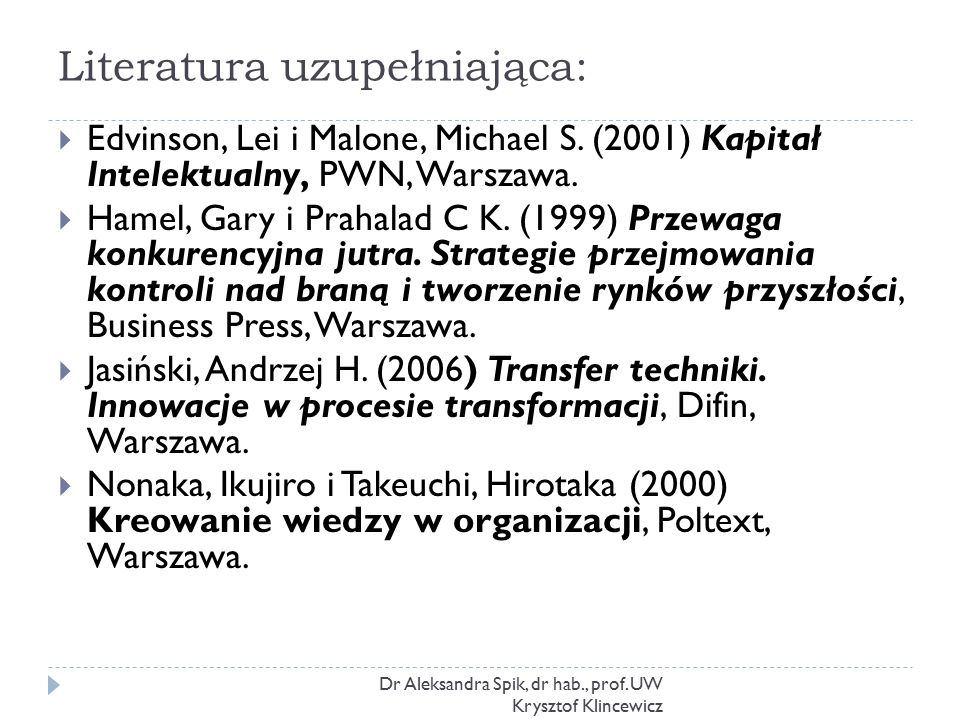 Literatura uzupełniająca: Dr Aleksandra Spik, dr hab., prof.