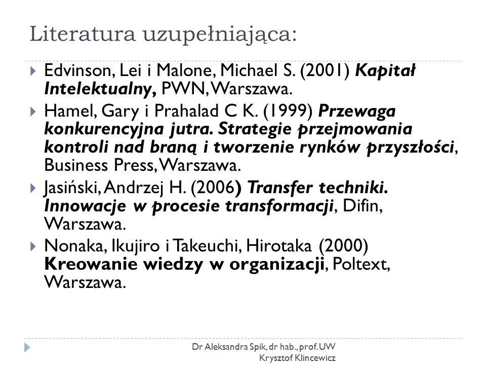 Literatura uzupełniająca: Dr Aleksandra Spik, dr hab., prof. UW Krysztof Klincewicz  Edvinson, Lei i Malone, Michael S. (2001) Kapitał Intelektualny,