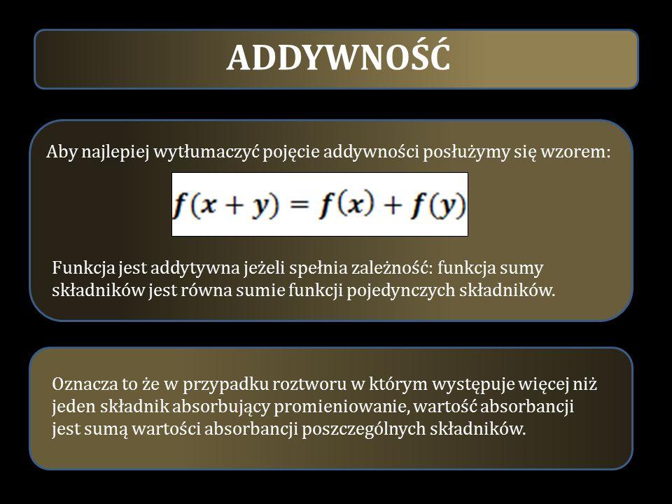 Aby najlepiej wytłumaczyć pojęcie addywności posłużymy się wzorem: Funkcja jest addytywna jeżeli spełnia zależność: funkcja sumy składników jest równa
