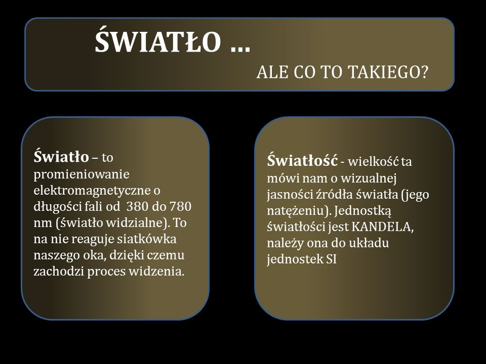 Ś WIATŁO … ALE CO TO TAKIEGO.