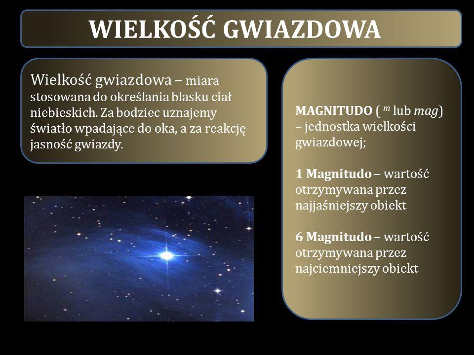 WIELKOŚĆ GWIAZDOWA Wielkość gwiazdowa – miara stosowana do określania blasku ciał niebieskich. Za bodziec uznajemy światło wpadające do oka, a za reak