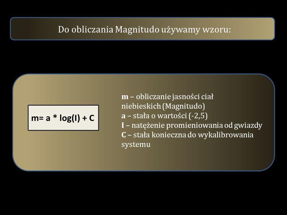 Do obliczania Magnitudo używamy wzoru: m= a * log(I) + C m – obliczanie jasności ciał niebieskich (Magnitudo) a – stała o wartości (-2,5) I – natężeni
