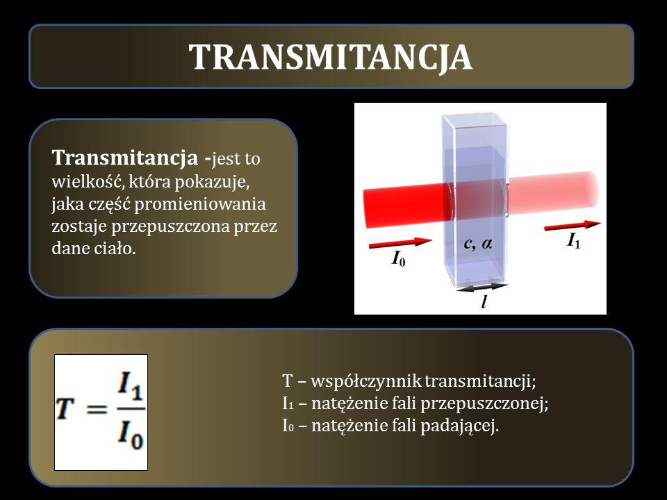TRANSMITANCJA Transmitancja - jest to wielkość, która pokazuje, jaka część promieniowania zostaje przepuszczona przez dane ciało. T – współczynnik tra
