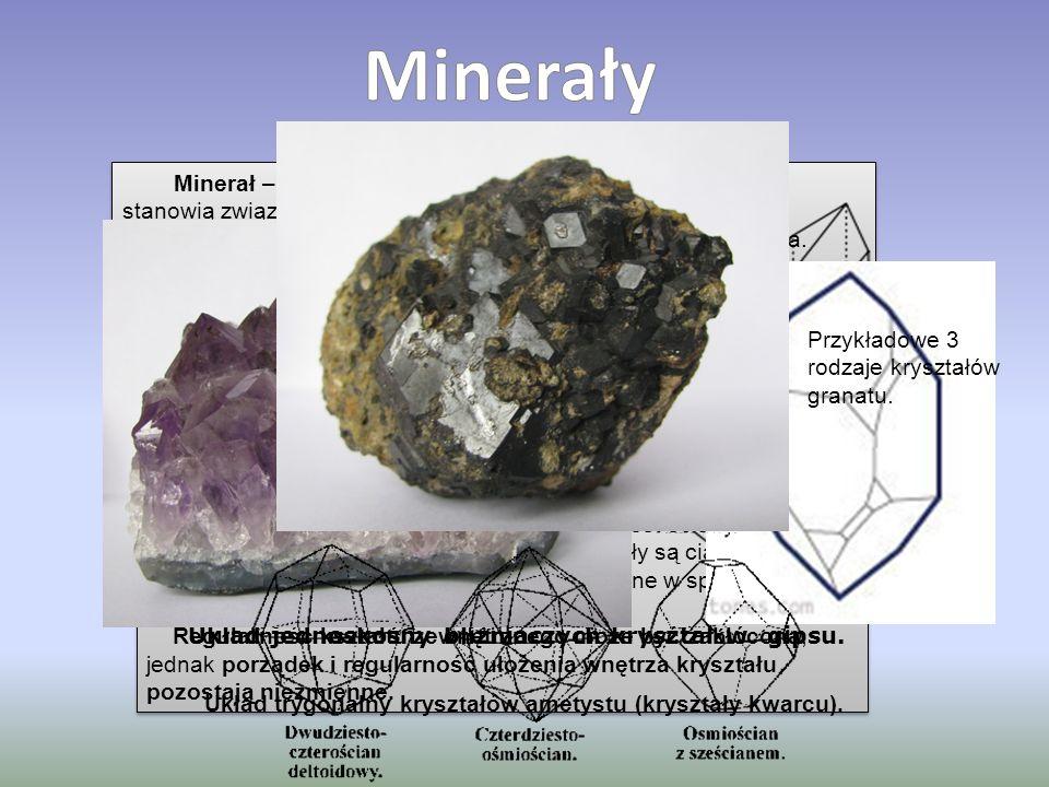 Minerał – podstawowy składnik skał. Większość minerałów stanowią związki chemiczne, ale niektóre są pojedynczymi pierwiastkami chemicznymi, takimi jak