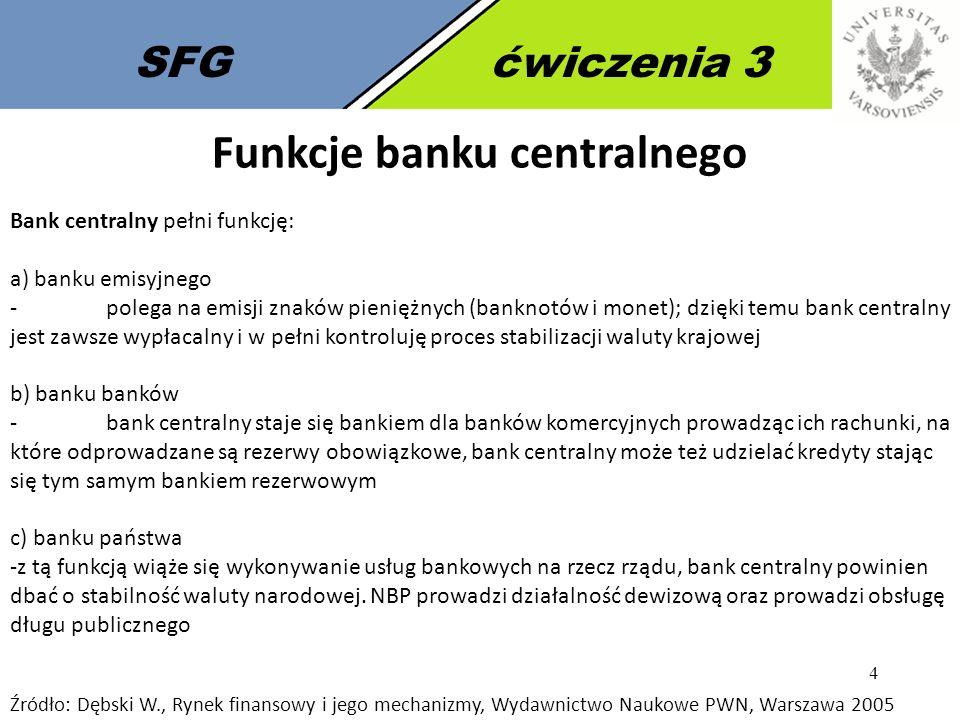4 SFGćwiczenia 3 Funkcje banku centralnego Bank centralny pełni funkcję: a) banku emisyjnego - polega na emisji znaków pieniężnych (banknotów i monet)