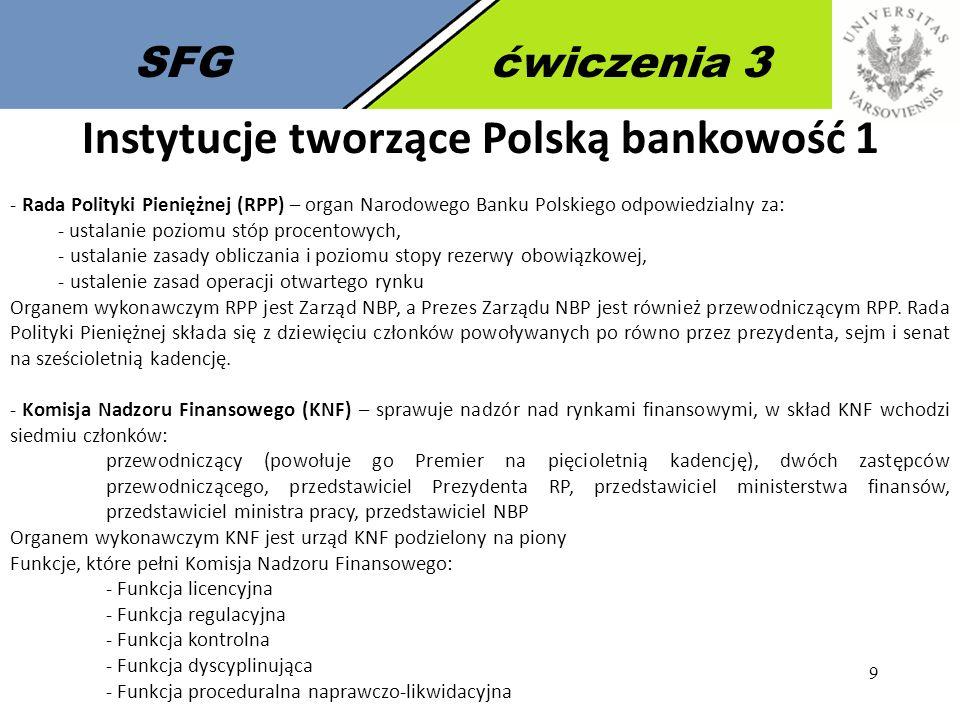 10 SFGćwiczenia 3 Instytucje tworzące Polską bankowość 2 - Bankowy Fundusz Gwarancyjny (BFG) - fundusz jest instytucją zarządzającą systemem gwarantowania depozytów w Polsce powołaną ustawą z dnia 14 grudnia 1994 r.