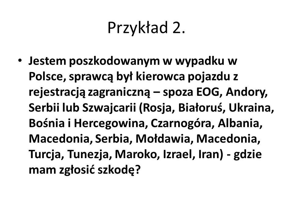 Jestem poszkodowanym w wypadku w Polsce, sprawcą był kierowca pojazdu z rejestracją zagraniczną – spoza EOG, Andory, Serbii lub Szwajcarii (Rosja, Białoruś, Ukraina, Bośnia i Hercegowina, Czarnogóra, Albania, Macedonia, Serbia, Mołdawia, Macedonia, Turcja, Tunezja, Maroko, Izrael, Iran) - gdzie mam zgłosić szkodę.