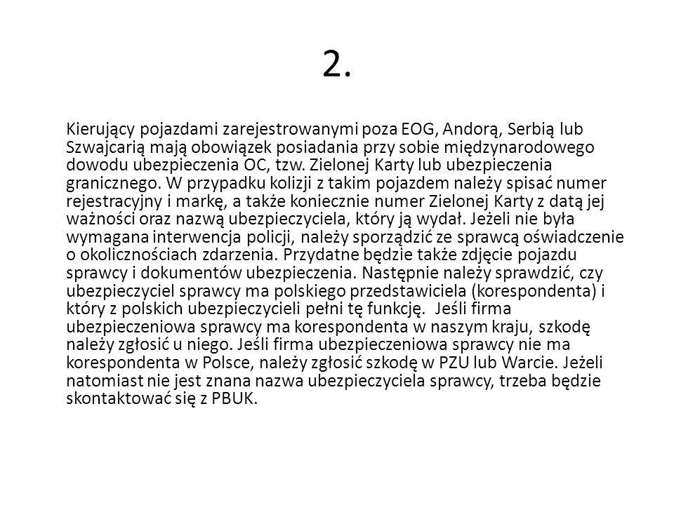 Kierujący pojazdami zarejestrowanymi poza EOG, Andorą, Serbią lub Szwajcarią mają obowiązek posiadania przy sobie międzynarodowego dowodu ubezpieczenia OC, tzw.