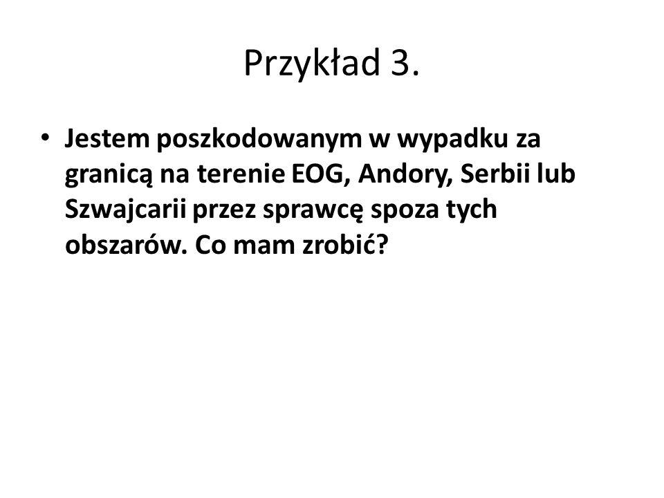 Jestem poszkodowanym w wypadku za granicą na terenie EOG, Andory, Serbii lub Szwajcarii przez sprawcę spoza tych obszarów.