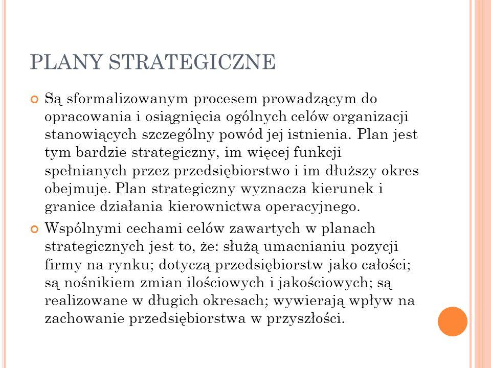 PLANY STRATEGICZNE Są sformalizowanym procesem prowadzącym do opracowania i osiągnięcia ogólnych celów organizacji stanowiących szczególny powód jej istnienia.