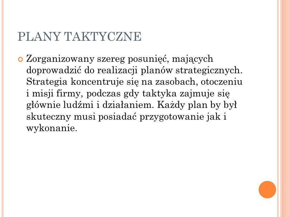 PLANY TAKTYCZNE Zorganizowany szereg posunięć, mających doprowadzić do realizacji planów strategicznych.