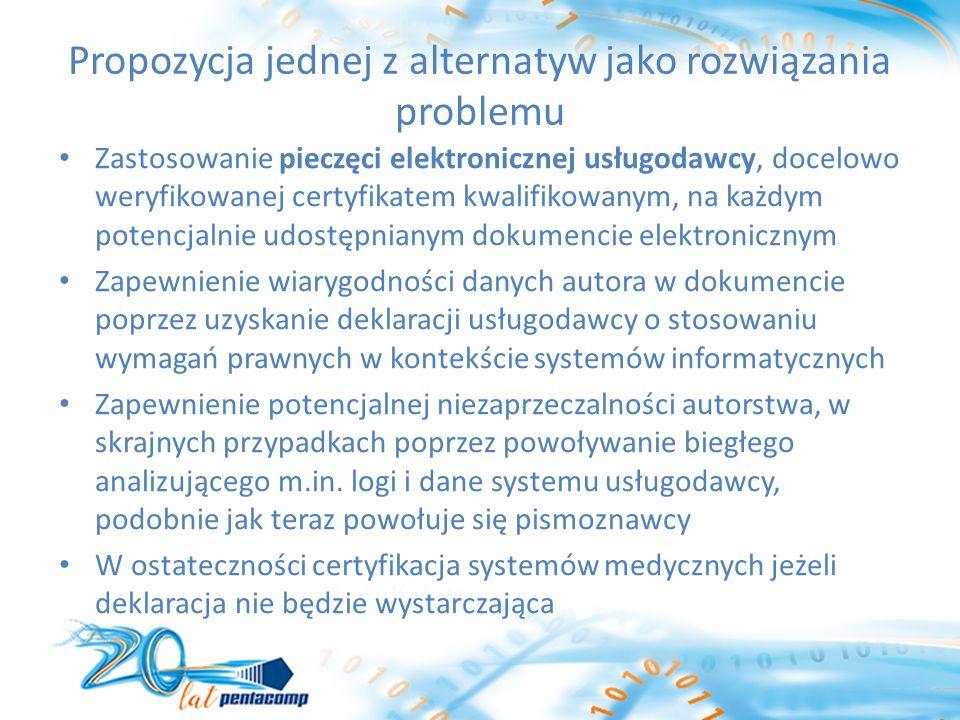 Propozycja jednej z alternatyw jako rozwiązania problemu Zastosowanie pieczęci elektronicznej usługodawcy, docelowo weryfikowanej certyfikatem kwalifikowanym, na każdym potencjalnie udostępnianym dokumencie elektronicznym Zapewnienie wiarygodności danych autora w dokumencie poprzez uzyskanie deklaracji usługodawcy o stosowaniu wymagań prawnych w kontekście systemów informatycznych Zapewnienie potencjalnej niezaprzeczalności autorstwa, w skrajnych przypadkach poprzez powoływanie biegłego analizującego m.in.
