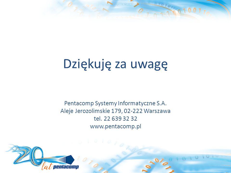 Dziękuję za uwagę Pentacomp Systemy Informatyczne S.A.