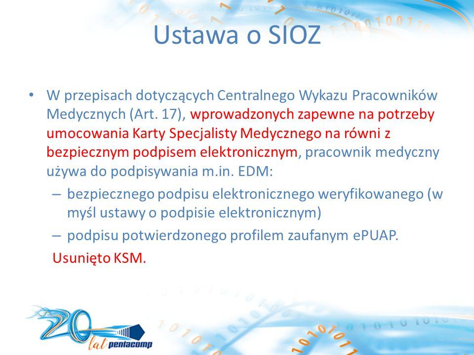 Ustawa o SIOZ W przepisach dotyczących Centralnego Wykazu Pracowników Medycznych (Art.