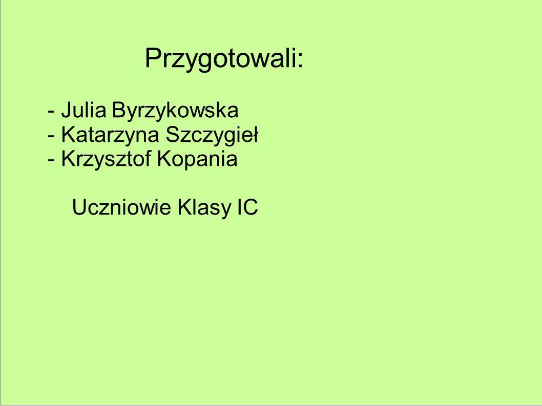 Przygotowali: - Julia Byrzykowska - Katarzyna Szczygieł - Krzysztof Kopania Uczniowie Klasy IC