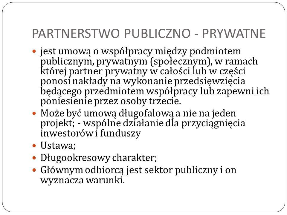 PARTNERSTWO PUBLICZNO - PRYWATNE jest umową o współpracy między podmiotem publicznym, prywatnym (społecznym), w ramach której partner prywatny w całoś