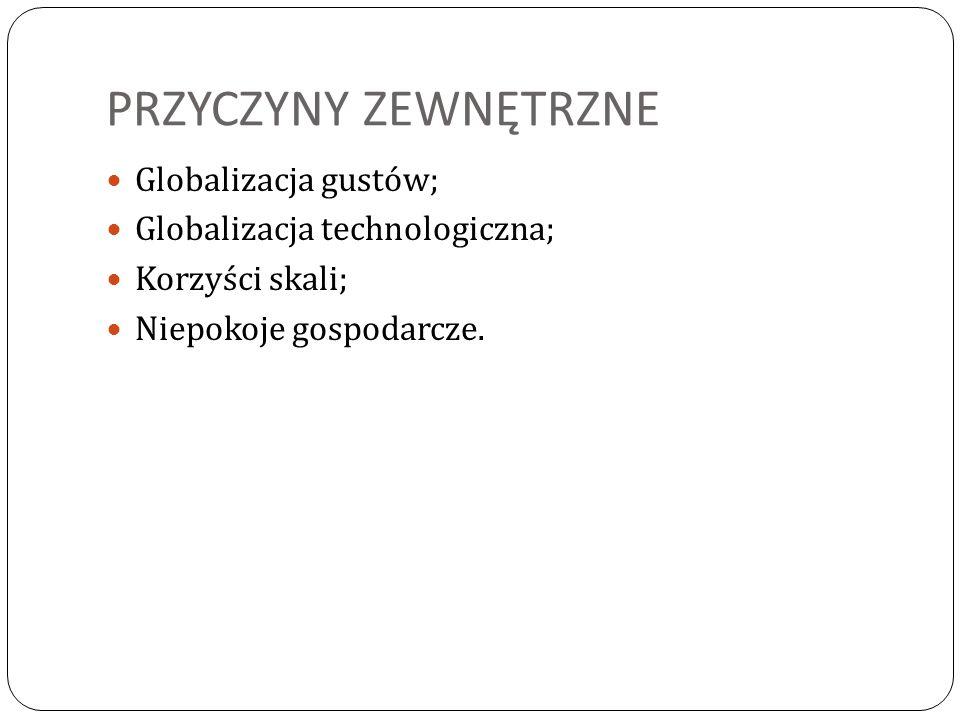 PRZYCZYNY ZEWNĘTRZNE Globalizacja gustów; Globalizacja technologiczna; Korzyści skali; Niepokoje gospodarcze.