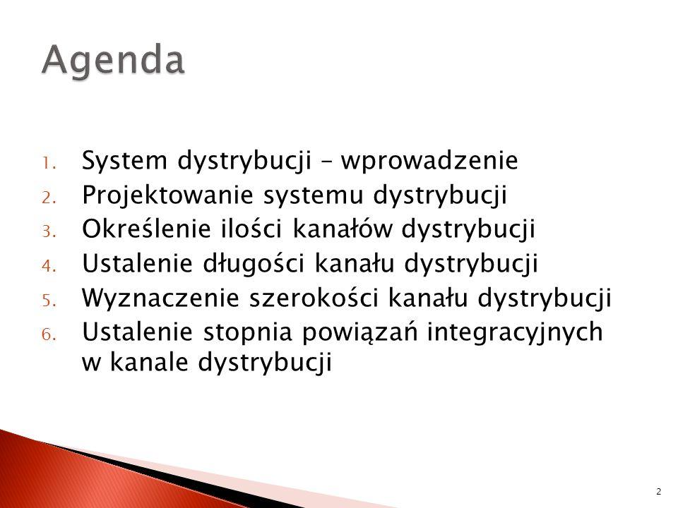 1. System dystrybucji – wprowadzenie 2. Projektowanie systemu dystrybucji 3. Określenie ilości kanałów dystrybucji 4. Ustalenie długości kanału dystry