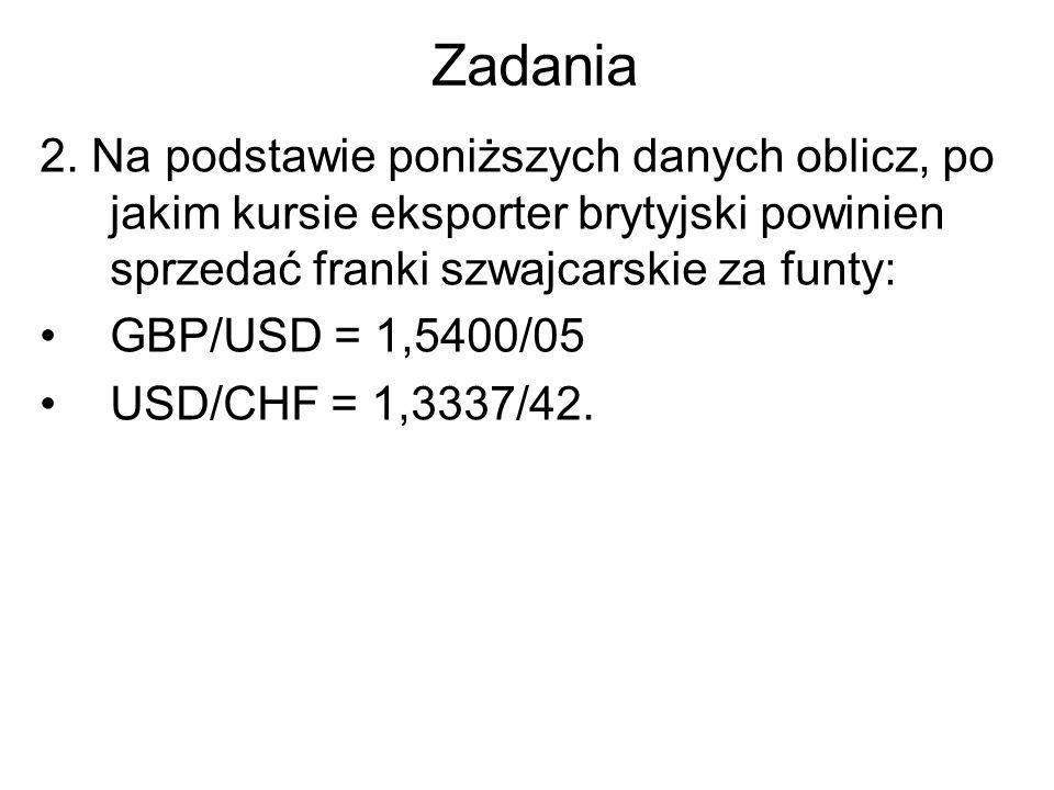 Zadania 2. Na podstawie poniższych danych oblicz, po jakim kursie eksporter brytyjski powinien sprzedać franki szwajcarskie za funty: GBP/USD = 1,5400