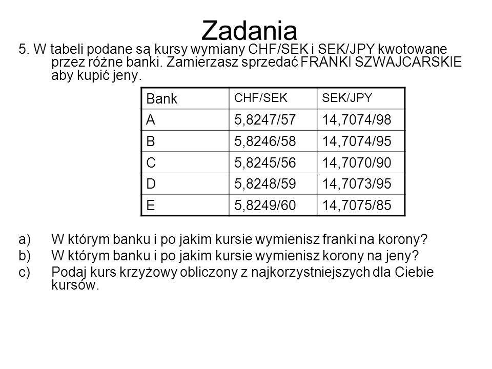 Zadania 5. W tabeli podane są kursy wymiany CHF/SEK i SEK/JPY kwotowane przez różne banki. Zamierzasz sprzedać FRANKI SZWAJCARSKIE aby kupić jeny. a)W