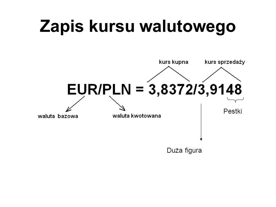 Zapis kursu walutowego Duża figura Pestki
