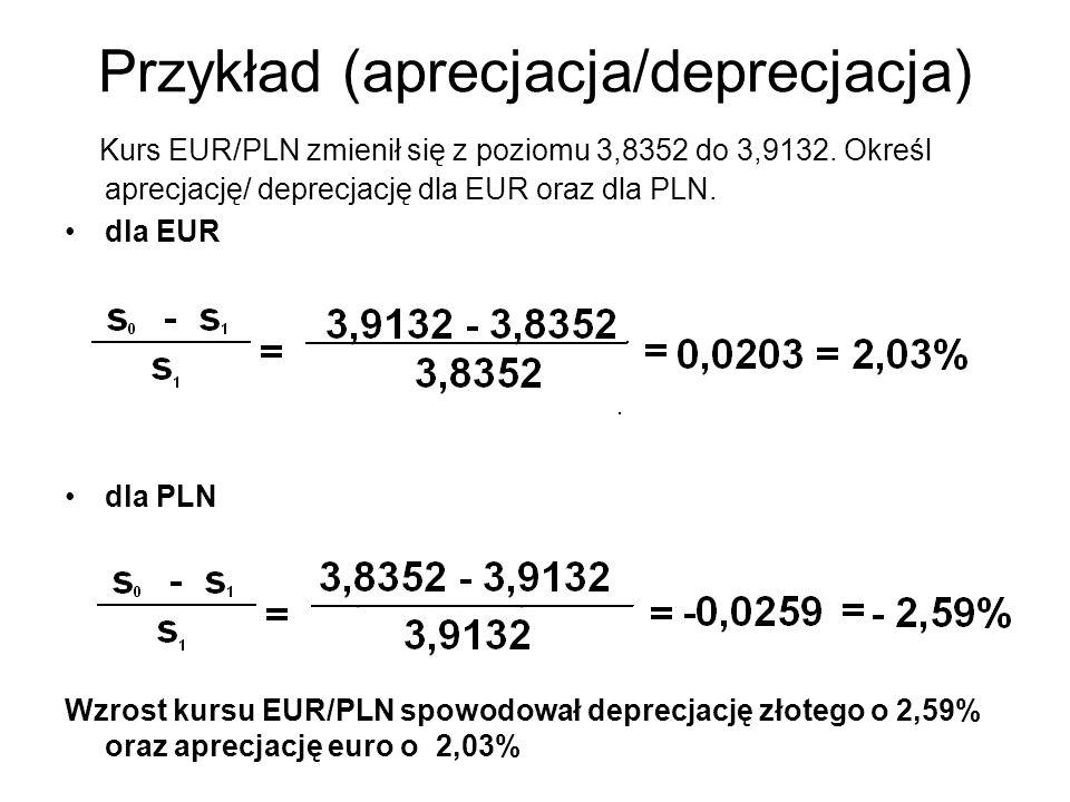 Przykład (aprecjacja/deprecjacja) Kurs EUR/PLN zmienił się z poziomu 3,8352 do 3,9132. Określ aprecjację/ deprecjację dla EUR oraz dla PLN. dla EUR dl