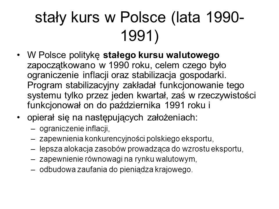 stały kurs w Polsce (lata 1990- 1991) W Polsce politykę stałego kursu walutowego zapoczątkowano w 1990 roku, celem czego było ograniczenie inflacji oraz stabilizacja gospodarki.