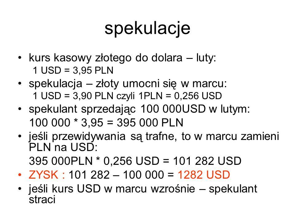 spekulacje kurs kasowy złotego do dolara – luty: 1 USD = 3,95 PLN spekulacja – złoty umocni się w marcu: 1 USD = 3,90 PLN czyli 1PLN = 0,256 USD spekulant sprzedając 100 000USD w lutym: 100 000 * 3,95 = 395 000 PLN jeśli przewidywania są trafne, to w marcu zamieni PLN na USD: 395 000PLN * 0,256 USD = 101 282 USD ZYSK : 101 282 – 100 000 = 1282 USD jeśli kurs USD w marcu wzrośnie – spekulant straci